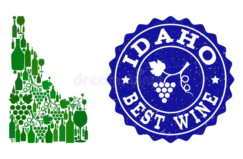 Composition of Grape Wine Map of Idaho State and Best Wine Grunge Watermark. Vector collage of wine map of Idaho State and best grape wine grunge seal stamp. Map stock illustration