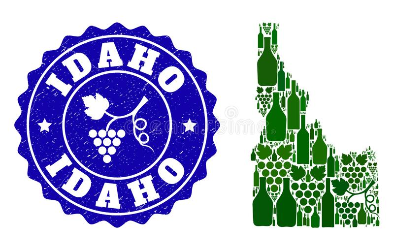 Composition of Grape Wine Map of Idaho State and Grape Grunge Stamp. Vector collage of wine map of Idaho State and grape grunge stamp. Map of Idaho State collage stock illustration