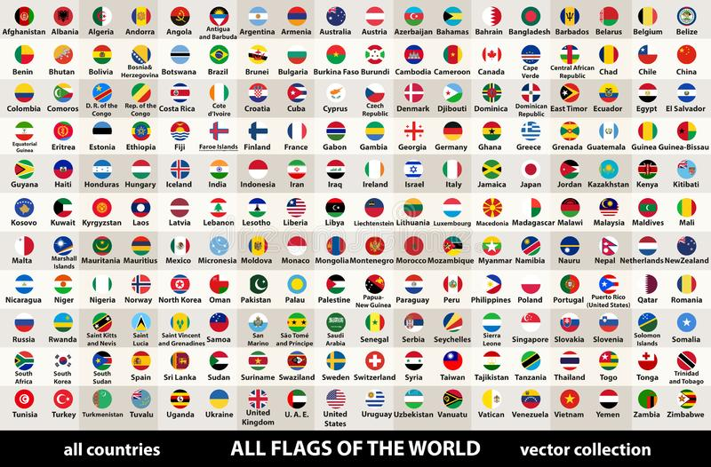 Vector collection of all flags of the world in circular design, arranged in alphabetical order, with original colors and high deta. Collection of all flags of vector illustration