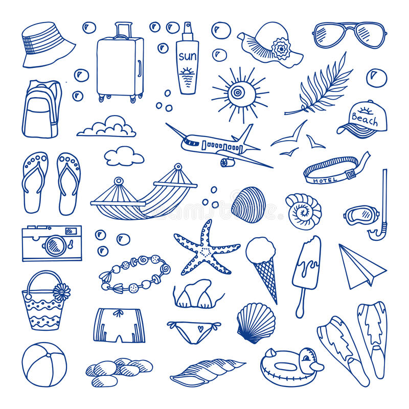 Vector Collection of Beach and Tropical Themed Images stock illustration