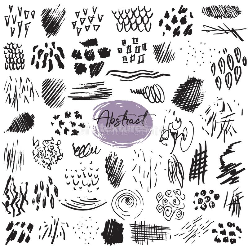 Vector collection of black ink abstract textures. Set of hand drawn design elements. Vector collection of black ink abstract textures royalty free illustration
