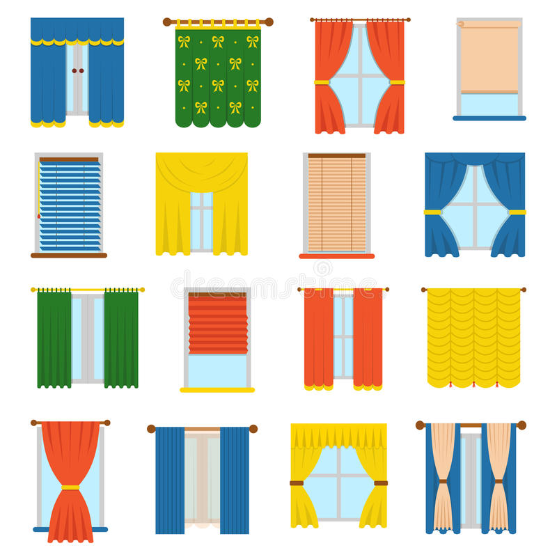 Vector collection blinds. Vector collection various window treatments curtains, drapes, shades, blinds. Flat style blinds flat jalousie vector. Glass decoration royalty free illustration