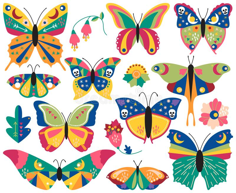 Vector Collection of Bohemian Stylized Butterflies and Moths. With Flowers and Foliage vector illustration