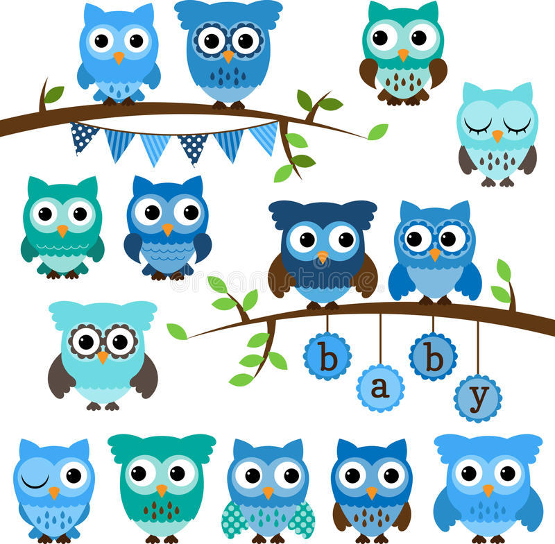 Vector Collection of Boy Baby Shower Themed Owls royalty free illustration