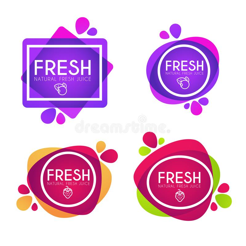 Vector collection of bright and shine stickers, emblems and ban royalty free illustration