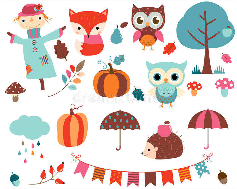 Vector collection of cartoon animals and autumn elements vector illustration