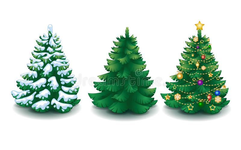 Vector collection of cartoon Christmas trees vector illustration