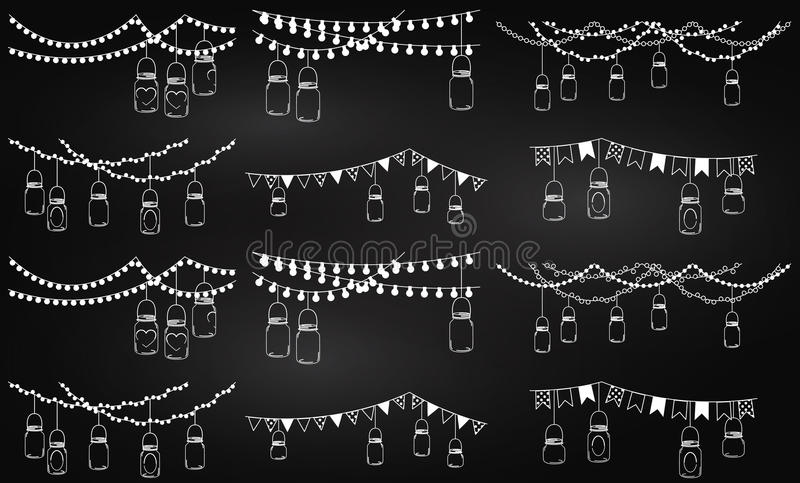 Download Vector Collection Of Chalkboard Style Mason Jar Lights Stock