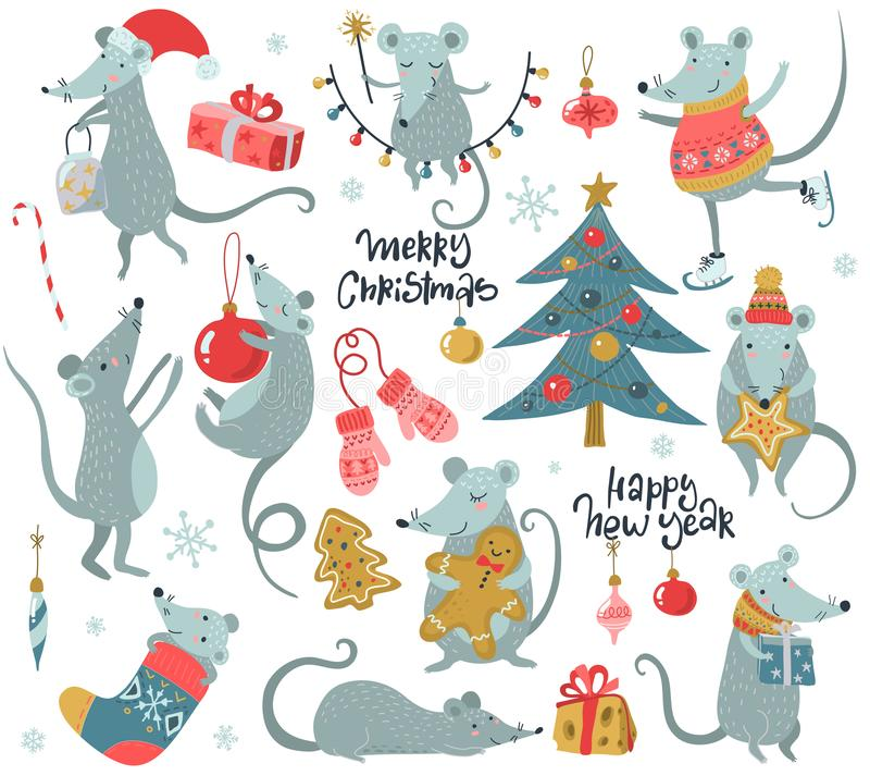 Vector collection of 2020 Chinese New Year simbol. Hand drawn set of cute mice with Santa hat, fir, gifts, garland. stock illustration
