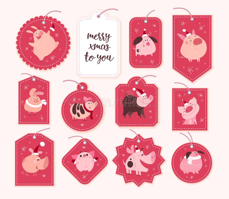 Vector collection of christmas gift tags and badges different shapes isolated on red background. Emblems for xmas holiday presents packaging. New year cute pig vector illustration