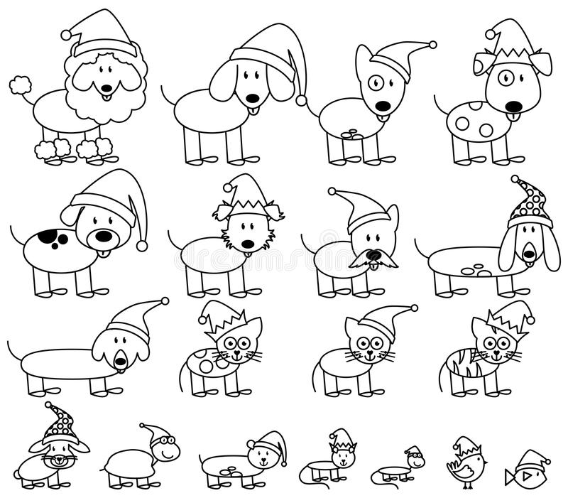 Vector Collection of Christmas Themed Stick Figure Pets. With Santa Hats stock illustration