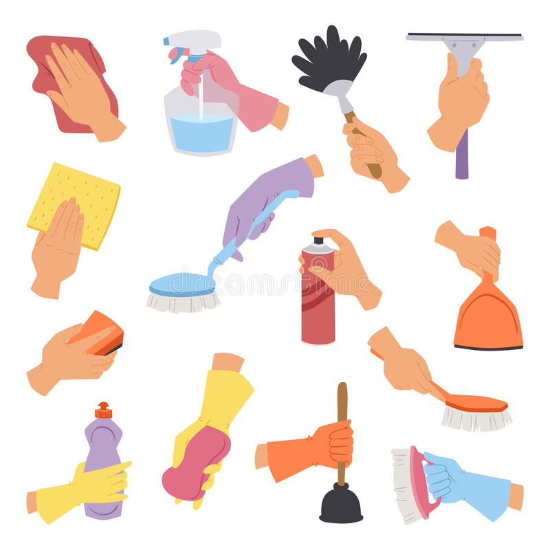 Vector collection with cleaning tools in hand flat style perfect for housework packaging and colorful domestic hygiene royalty free illustration