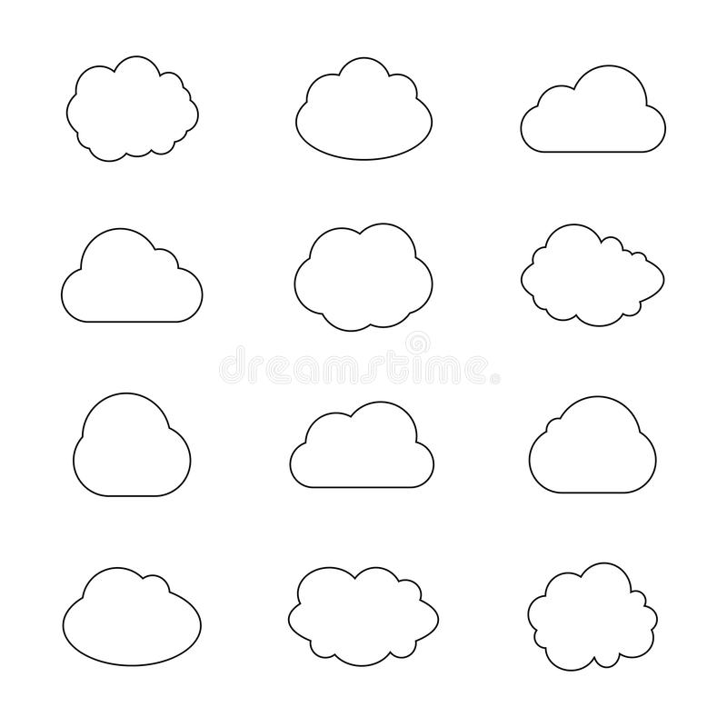 Vector Collection of Cloud Silhouettes, Outline Clouds, Graphic Art, Isolated Icons. vector illustration