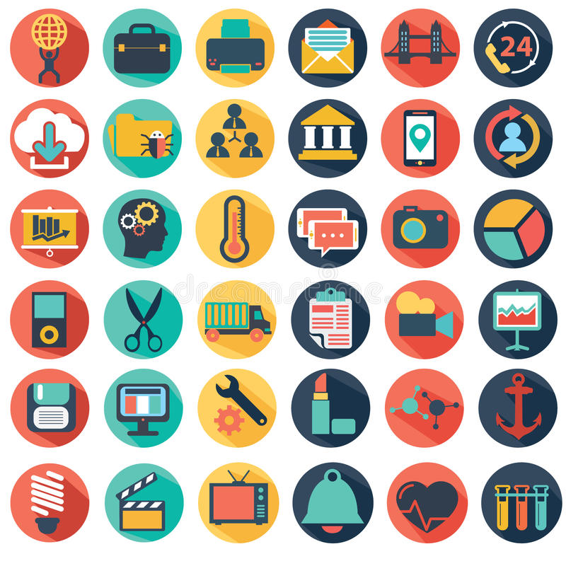 Vector collection of colorful flat business and finance icons. stock illustration