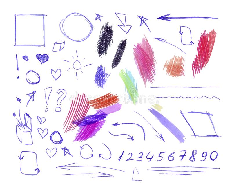 Vector Collection of Colorful Pen and Pencil Doodling Drawings Isolated, Hand Drawn Illustration. Vector Collection of Colorful Pen and Pencil Doodling Drawings stock illustration