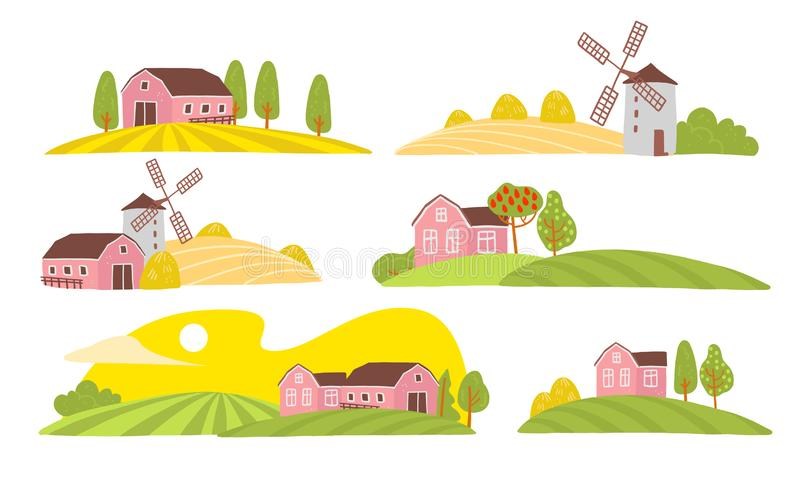 Vector collection of cozy farm landscape view: house, garden, trees, field, haystack, windmill isolated on white background. Flat hand drawn style. For label stock illustration