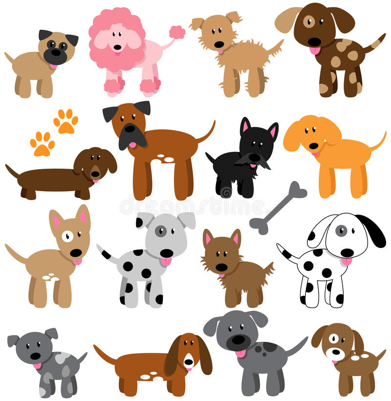 Vector Collection of Cute Cartoon Dogs royalty free illustration