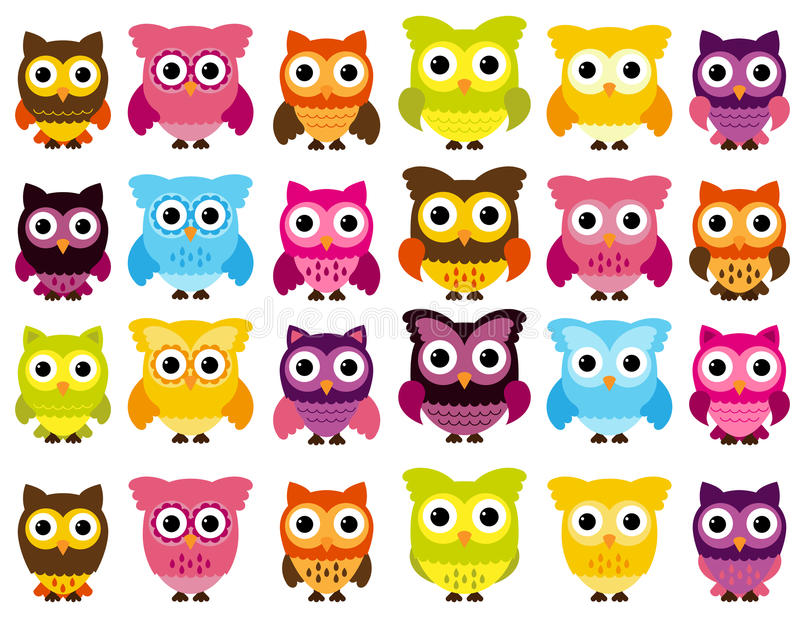 Vector Collection of Cute and Colorful Owls stock illustration