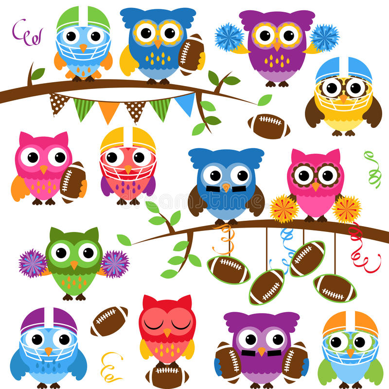 Vector Collection of Cute Football or Sports Themed Owls vector illustration