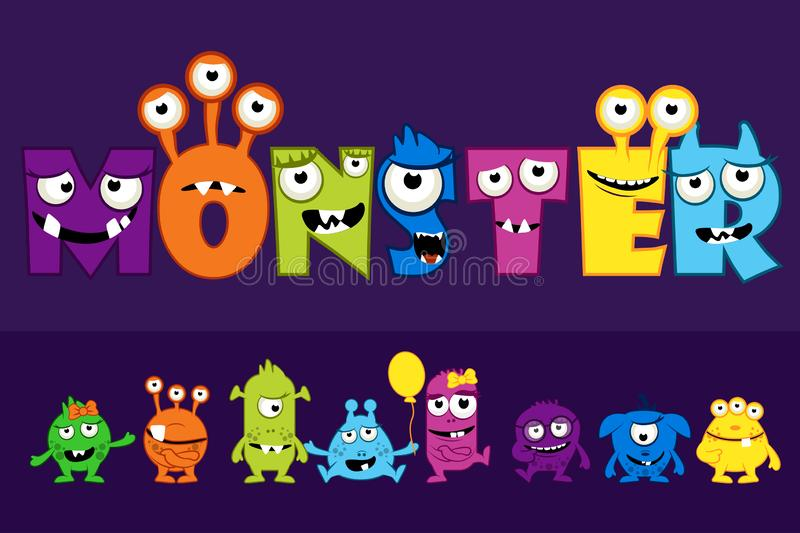 Vector collection of cute Monsters, cartoon funny monster letter set vector illustration