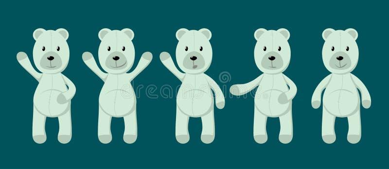 Vector collection of cute toy polar bears. vector illustration