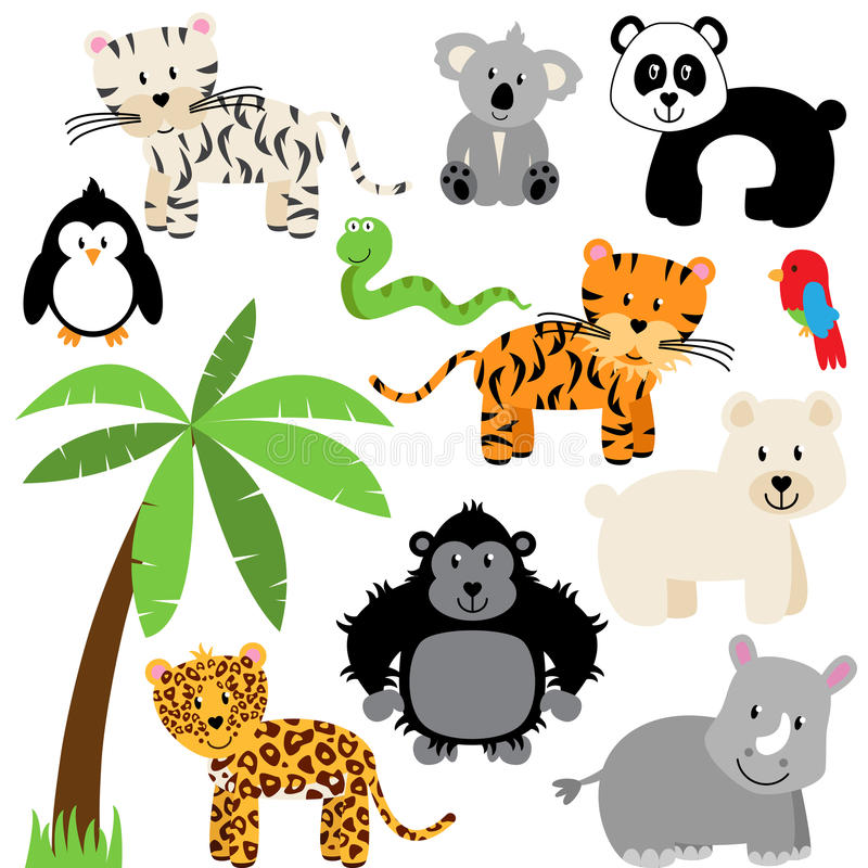Vector Collection of Cute Zoo, Jungle or Wild Animals stock illustration