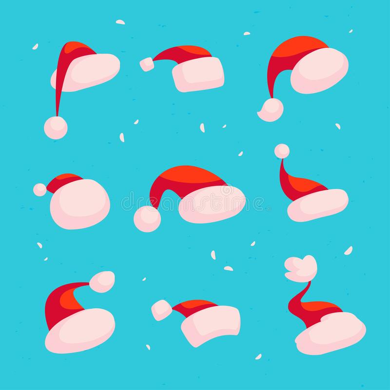 Vector collection of different red Santa Claus hats isolated on blue snowy background. royalty free illustration