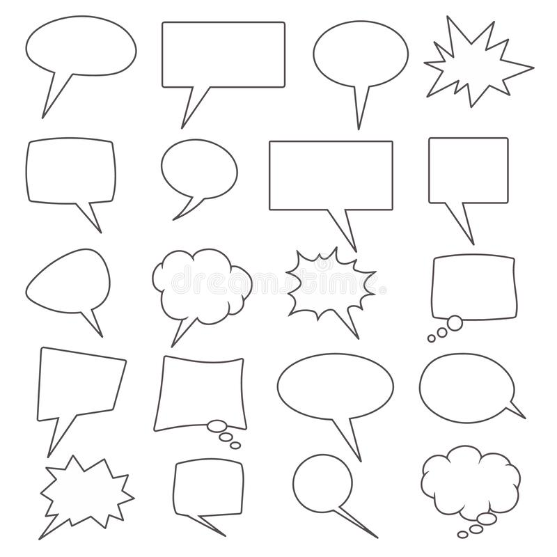 Vector collection of 20 different shaped comic speech bubbles royalty free illustration