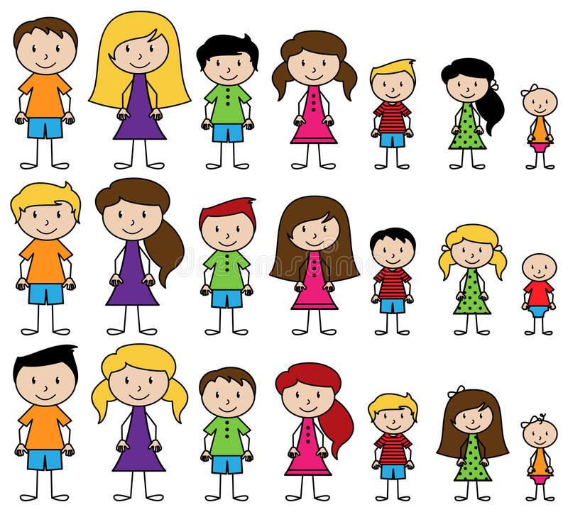 Vector Collection of Diverse Stick People in Vector Format stock illustration