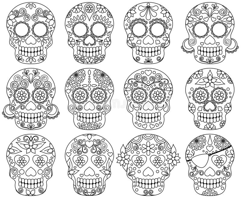 Vector Collection of Doodle Day of the Dead Skulls. Or Sugar Skulls stock illustration