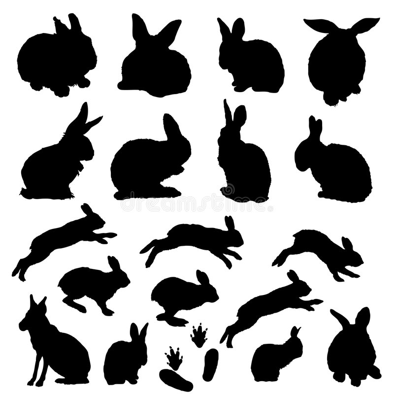 Vector collection of easter bunny silhouettes. Easter bunny silhouettes black shapes on white background