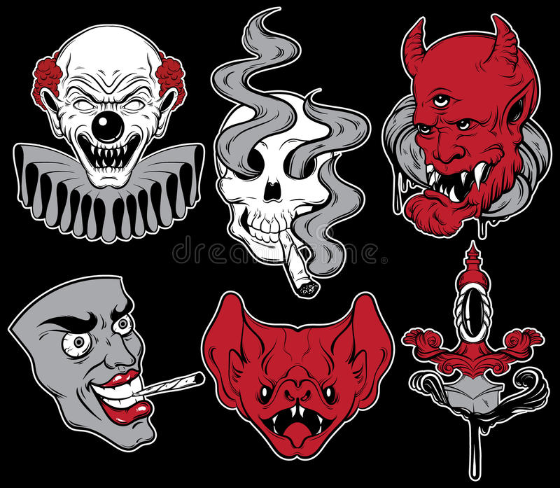 Vector collection of fashion badges with angry heads, human skull, bat and dagger. Template for card, poster, banner, print for t-shirt made in cartoon style vector illustration