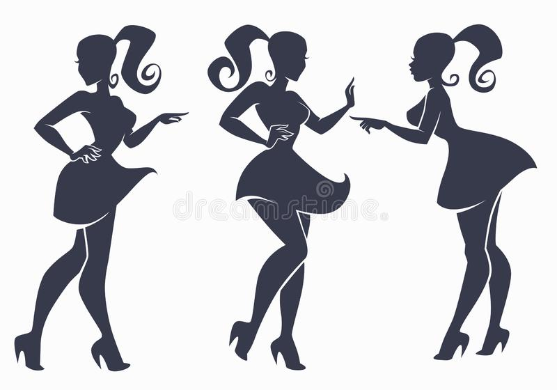 Vector collection of fashion girls silhouette stock illustration