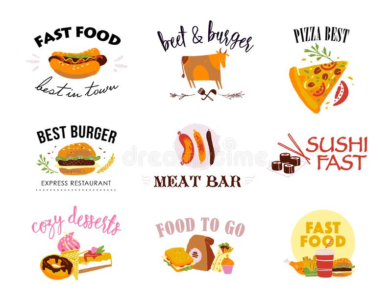 Vector collection of fast food logo templates isolated on white background. Textured craft effect, hand drawn sketch style. Good. For menu design, packaging royalty free illustration