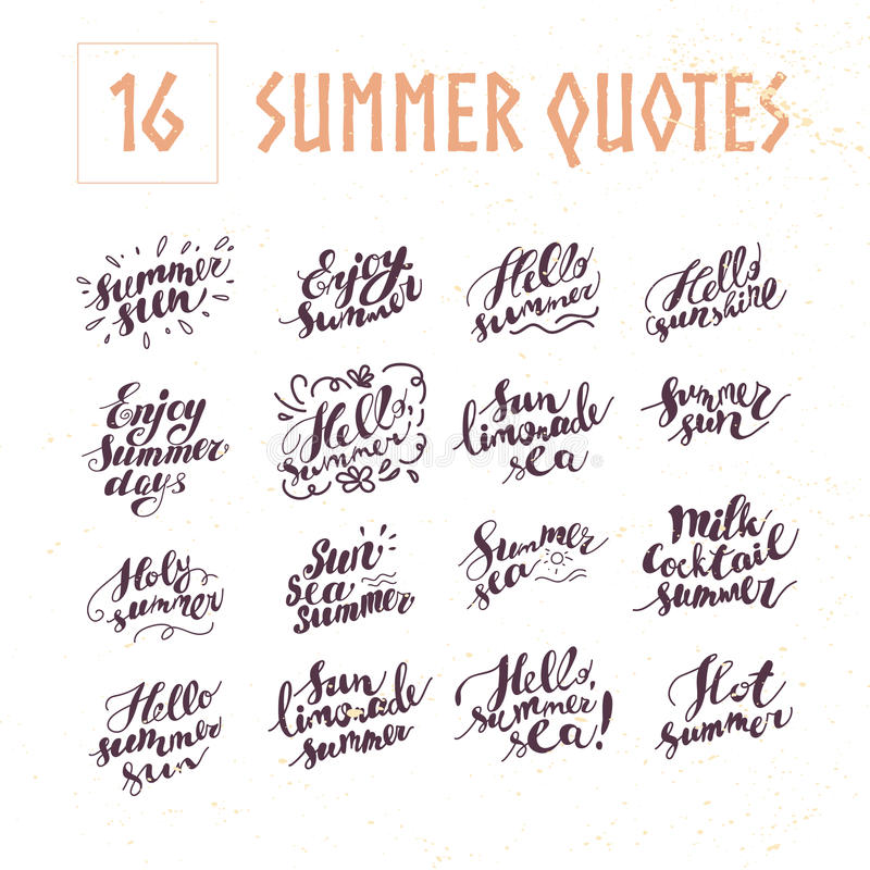 Vector collection of flat artistic hand written summer quotes on white background. royalty free illustration