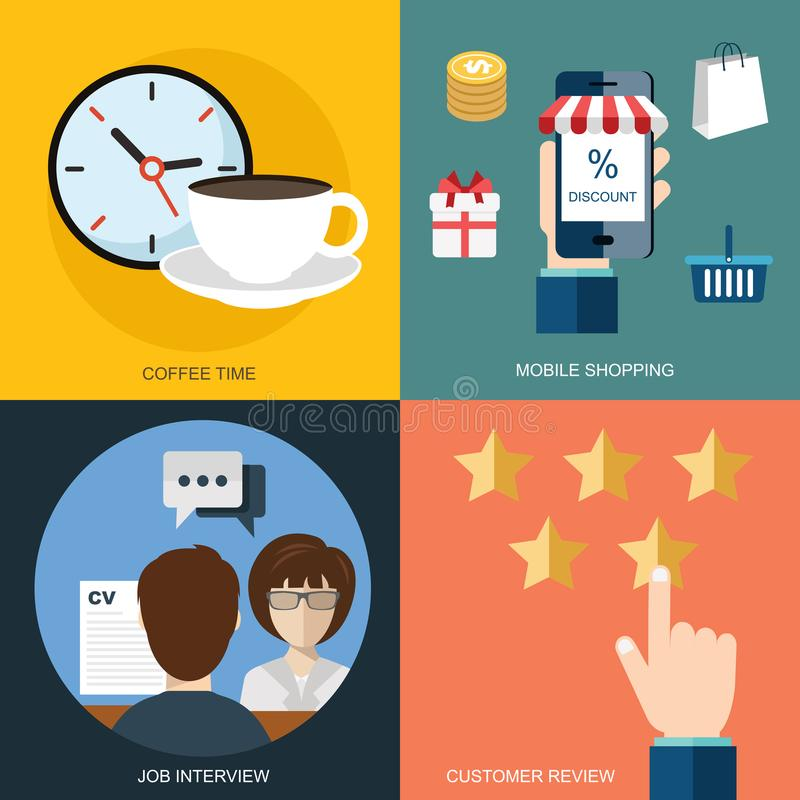 Vector collection of flat and colorful business, marketing and finance concepts. Design elements for web and mobile stock illustration