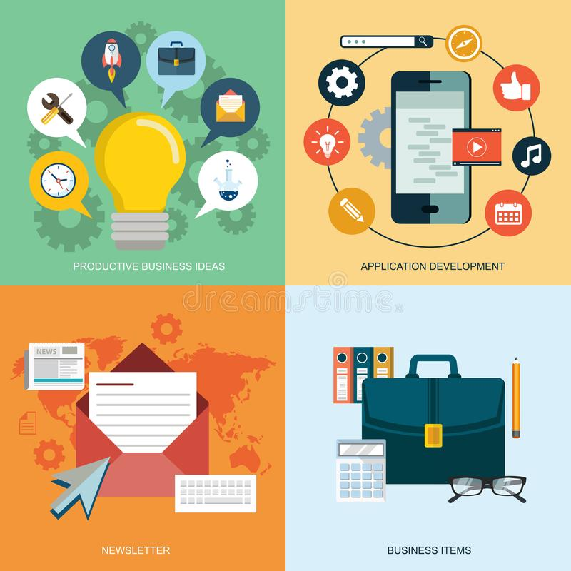 Vector collection of flat and colorful business, marketing and finance concepts. Design elements for web and mobile applications. Business, technology and stock illustration