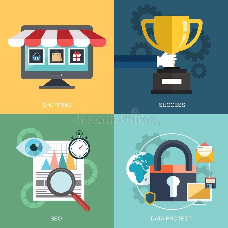 Vector collection of flat and colorful business, marketing and finance concepts. Design elements for web and mobile development vector illustration