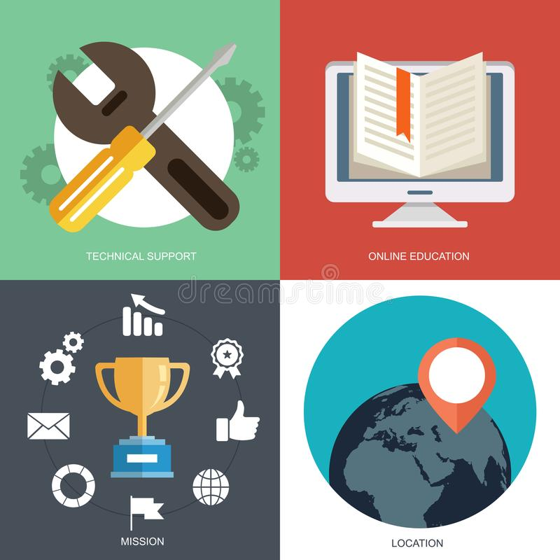 Business, marketing, finance and education concepts. Design elements for web and mobile app. Vector collection of flat and colorful business, marketing, finance vector illustration