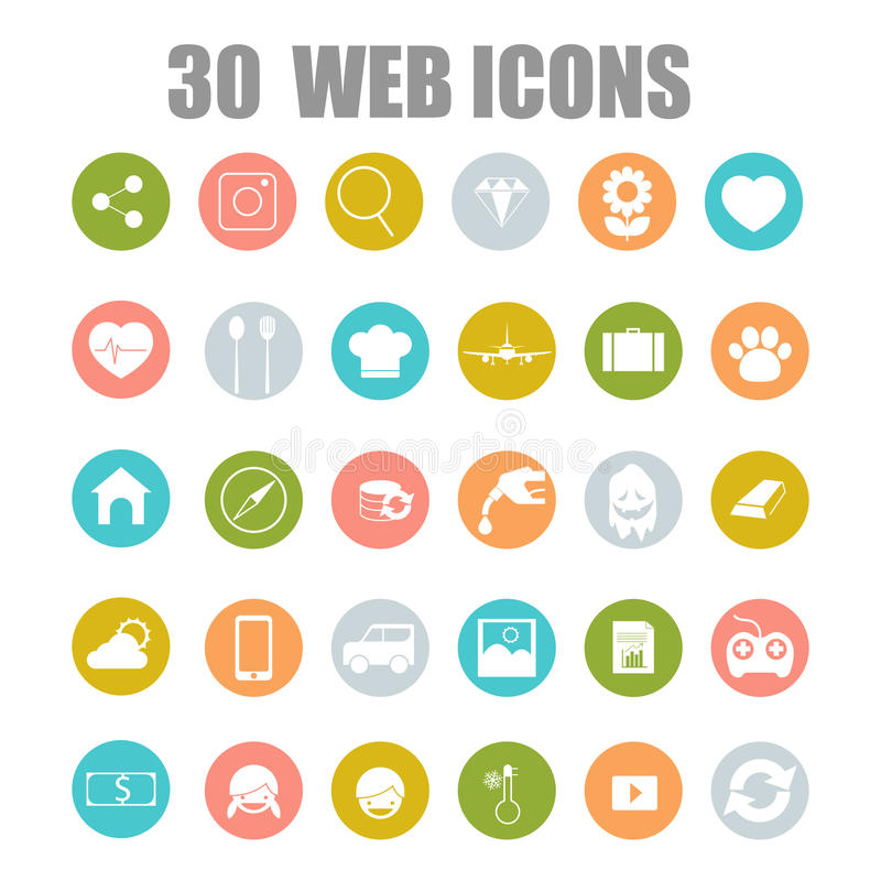 Vector collection of flat and colorful web icons on SEO, business, shopping and technology theme. vector illustration