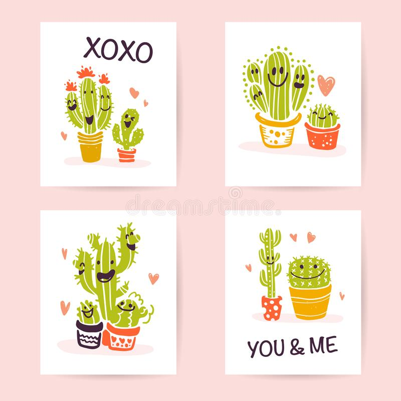 Vector collection of flat cute love cards with funny hand drawn cacti icons and portraits, lettering congratulations and heart sha vector illustration