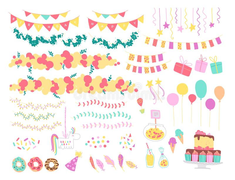 Vector collection of flat decor elements for kids birthday party - balloons, garlands, gift box, candy, pinata, bd cake etc. vector illustration