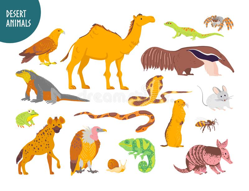 Vector collection of flat hand drawn desert animal, reptiles, insects: camel, snake, lizard isolated on white background. vector illustration