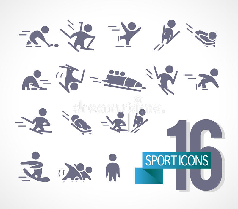Vector collection of flat simple athlete silhouettes on white background. royalty free illustration
