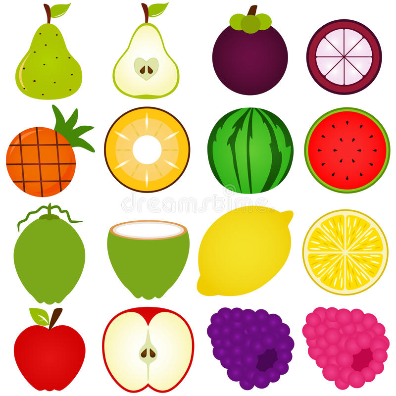 Download A Vector Collection Of Fresh Fruit Cut In Half Stock Vector - Illustration: 22326124