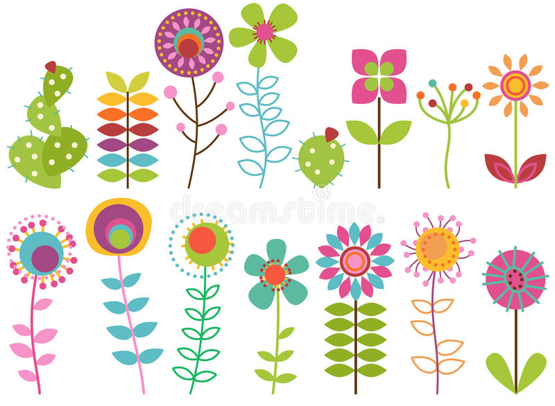 Vector Collection of Funky Retro Stylized Flowers. And Cactus royalty free illustration