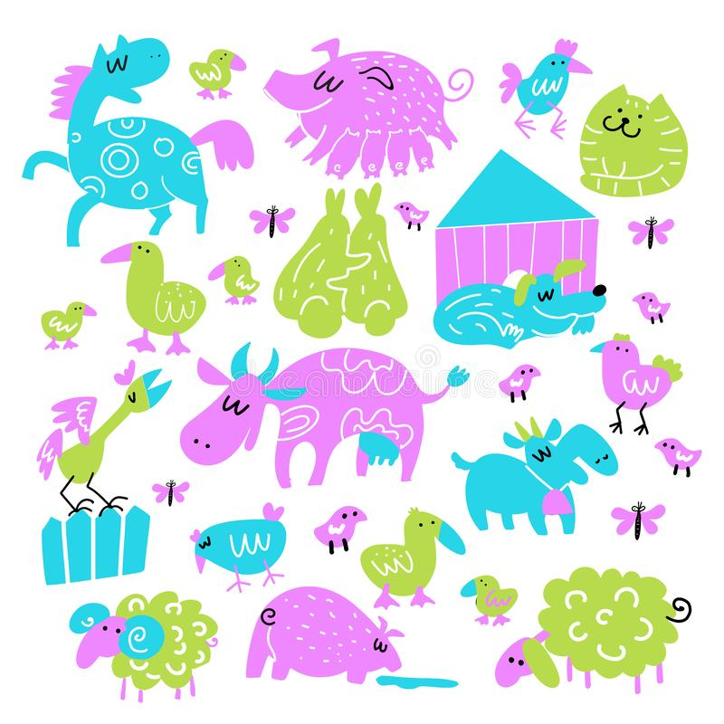 Vector collection of funny doodle farm animals. Illustration of hourse, pig, rabbits, cow, sheep, goat, duck, cock. vector illustration