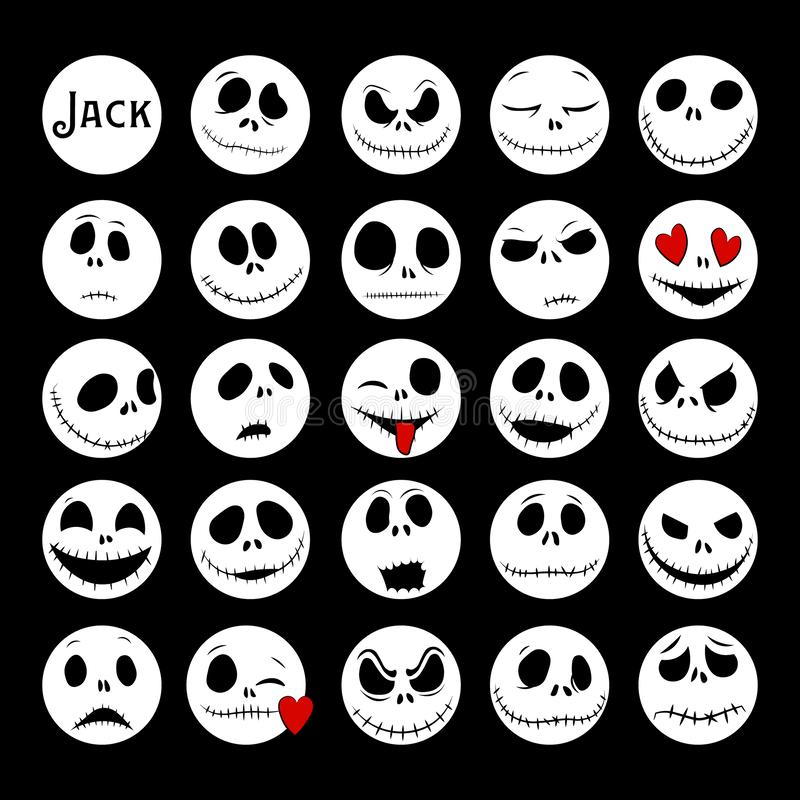 Vector Collection of Halloween Faces. The nightmare before christmas. Jack Skellington. halloween jack faces silhouettes. Vector Collection of Halloween Faces stock illustration