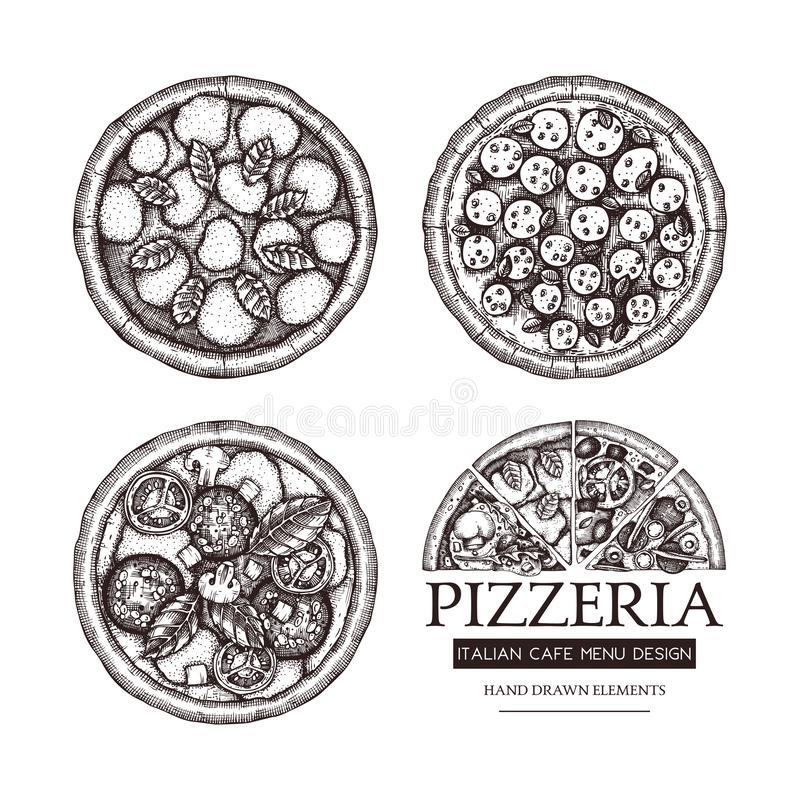Vector collection of hand drawn Pizza with slice sketches. Vector Italian food drawing. Engraving style Fast food illustrations f. Or cafe or pizzeria menu stock illustration