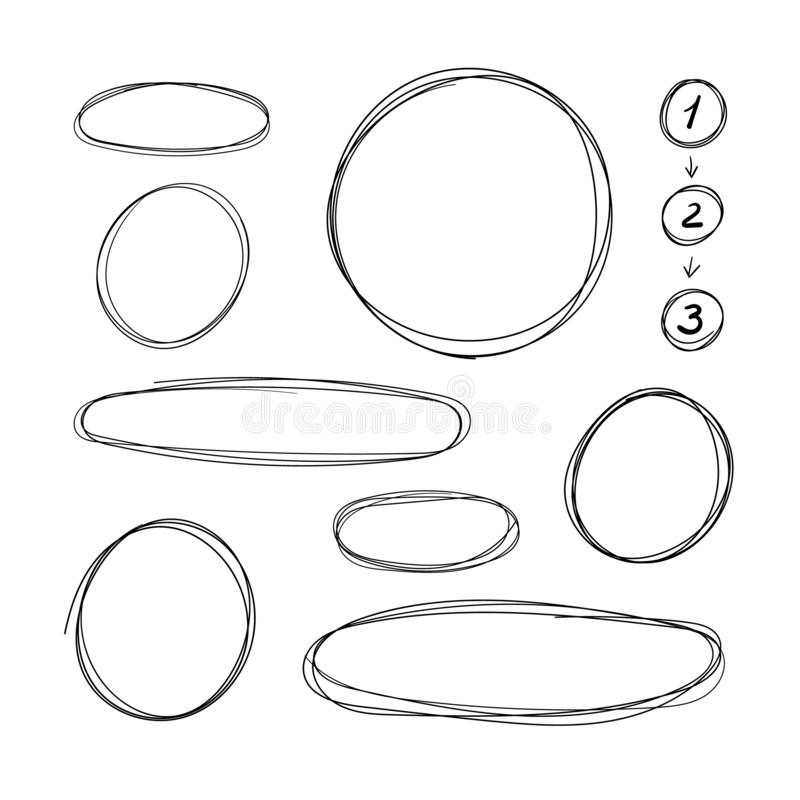 Vector Collection of Hand Drawn Scribble Circle Frames, Steps with Arrows Scheme, Design Element Set, Pen Freehand Drawings. vector illustration